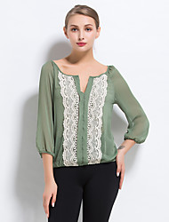 Women's Color Block Green Blouse,V Neck ¾ Sleeve
