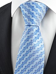 Blue Bronze Coin Checked Antique JACQUARD Men's Tie Necktie Holiday Gift KT0081