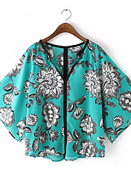 Women's Casual/Daily Street chic Summer Blouse,Print V Neck ½ Length Sleeve Green / Yellow Polyester Medium