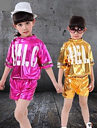 Jazz Outfits Children's Performance Polyester Sequins 2 Pieces Sleeveless Top / Shorts XS:38cm  S:40cm  M:42cm  L:44cm  XL:48cm  2XL:50cm