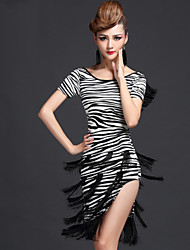 Latin Dance Dresses Women's Performance Milk Fiber Tassel(s) 1 Piece Tiger Stripes / Leopard Print / Zebra