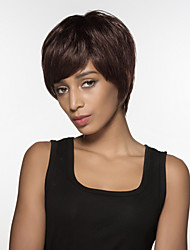 Spiffy Short Straight Hair  Human Virgin Remy Hand  Tied Top Woman's  Wig