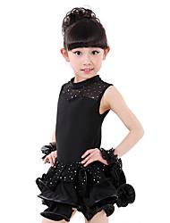 Danse latine Robes Enfant Entraînement Spandex 2 Pièces Sans manche Robe Coiffures