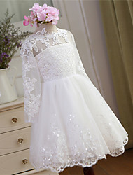 Ball Gown Knee-length Flower Girl Dress-Lace / Tulle Long Sleeve