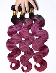 1b / lila # ombre Haar brasilianische Körperwelle 3 Bündel Klasse 7a reines Menschenhaar Webart Schüssen