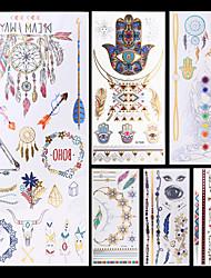6 Tatouages Autocollants Séries bijoux Séries animales Séries de fleur Séries de totem AutresNon Toxique Motif Halloween Paillettes