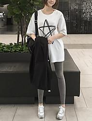 Tee-shirt Aux femmes,Imprimé Sortie simple ½ Manches Col Arrondi Rose / Blanc / Gris Coton Fin