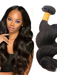 "Top Quality 1Pcs /Lot 50g 8""-26""Peruvian Virgin Hair Loose Wave Natural Black 1B# Human Hair Weaves"