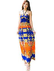 Women's Boho Print Loose Dress,Halter Maxi Polyester