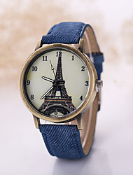 Men/Women Eiffel Tower  Case Denim Fabric Band Analog Quartz Wrist Watch Cool Watch Unique Watch