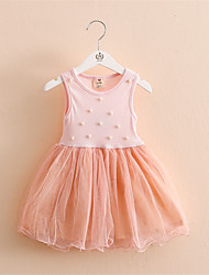 Simulated Pearl Beads Short-sleeved Lace Dress Princess Dress Summer Dress Clothes for Baby Girls Kids