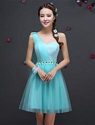 Short / Mini Lace Bridesmaid Dress - A-line One Shoulder with Appliques / Lace