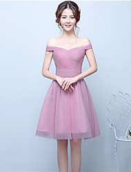 Knee-length Tulle Bridesmaid Dress - Ball Gown Off-the-shoulder with Side Draping