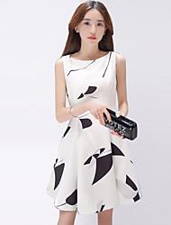 Damen Kleid-Skater Einfach Blumen Mini Polyester Rundhalsausschnitt