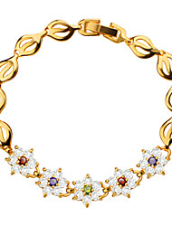 Colorful Flower Crystal Bracelet Vintage Jewelry High Quality 18k Gold Plated Cubic Zirconia Women Jewelry Gifts B40176