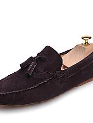 Da uomo-Scarpe da barca-Tempo libero Ufficio e lavoro Casual-Comoda Suole leggere scarpe Bullock-Piatto-Pelle-Grigio Marrone Blu marino