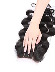 08inch-20inch Натуральный чёрный (#1В) Полностью ленточные / Изготовлено вручную Естественные кудри Человеческие волосы закрытие