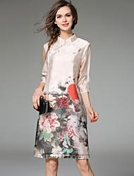 De las mujeres Corte Ancho Vestido Vintage Estampado Sobre la rodilla Escote Chino Seda