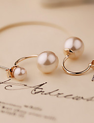 Intellectual Simple Style Double Pearl Lady Earrings
