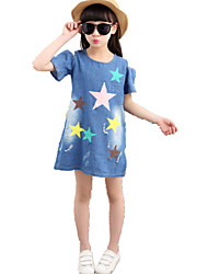 Girl's Wild Old Washed Star Print Off the Shoulder Short Sleeve Denim Dress