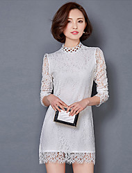 Women's Vintage / Street chic Solid Shift / Lace Dress,Stand Mini Cotton / Polyester