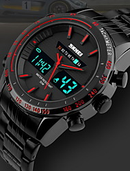 Men's Dual Time Display Analog-Digital Black Stainless Steel Sports Watch Cool Watch Unique Watch
