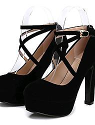 Women's Shoes Fleece Stiletto Heel Heels Heels Wedding / Party & Evening Black / Red