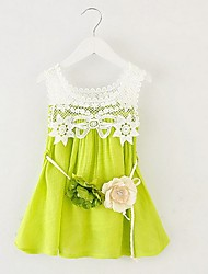 Girl's Green / Pink / White Dress,Solid Cotton / Polyester Summer / Spring
