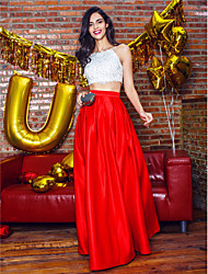 A-Line Spaghetti Straps Ankle Length Satin Prom Formal Evening Dress with Beading Lace by TS Couture®