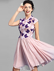 Baoyan® Women's Stand Short Sleeve Above Knee Dress-160076