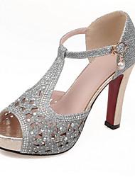 Черный / Серебристый / Золотистый-Женская обувь-Свадьба / Для праздника / На каждый день / Для вечеринки / ужина-Материал на заказ клиента