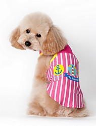 Cat / Dog Shirt / T-Shirt Blue / Pink Summer Cartoon / Plaid/Check Striped, Dog Clothes / Dog Clothing-Lovoyager