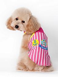 Cat / Dog Shirt / T-Shirt Blue / Pink Summer Cartoon / Plaid/Check Striped, Dog Clothes / Dog Clothing-Lovoyager