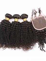 7а класс лучшие странный вьющиеся волосы пучки с закрытием, уток человеческих волос с закрытием кружева 4 шт / много не клубок&сброс