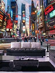 """(6'5 """"x 3'2 ft)High Quality Flash Silver Cloth Manhattan New York 3d Dessert Wine Cafe 3d Mural Wallpaper"""