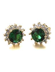 Sjeweler Girls Gold Plating Zircon Pendant Earrings