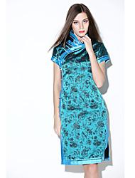 De las mujeres Corte Bodycon Vestido Vintage / Simple Estampado Hasta la Rodilla Escote Chino Seda