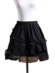 Black Cotton Multi-Layered Ruffles Gothic Lolita Skirt