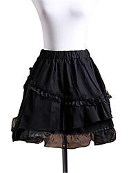 Rock Gothik Lolita Cosplay Lolita Kleider Schwarz einfarbig Lolita Kürzer Länge Rock Für Damen Baumwolle