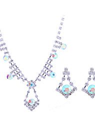 Fashion Summer Jewelry Sterling Silver / Zircon / Gem Jewelry Set Necklace/Earrings