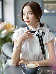 DABUWAWA® Mujer Escote Chino Manga Corta Camisa y blusa Blanco-D15BST089