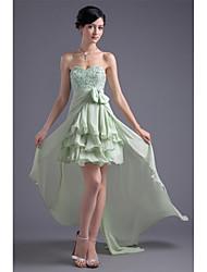 Un vestito da promenade del partito di cocktail chiffon asimmetrico della damigella d'on-line con il drappeggio laterale bordante