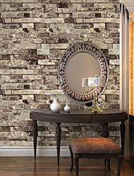 HaokHome®  Vintage Faux Stone Textured Wallpaper Beige/Grey 3D Brick Realistic Paper Room Decoration Wall Covering