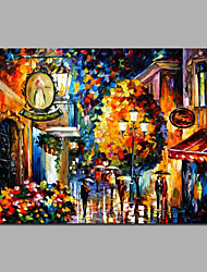 Resturant Night Knife Painting Evening Colorful Design Canvas Painting Framed Ready To Hang