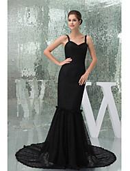 Formal Evening Dress-Black Trumpet/Mermaid Straps Court Train Lace