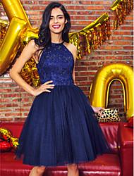 ts couture® cocktail vestido de festa vestido de baile da cabeçada na altura do joelho laço / tule com beading / rendas