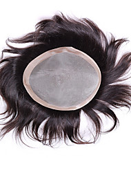 "Mens Toupee 6""x8"" Human Hair Toppers Hair Men's Hair Systems Pieces Mono Base Toupee"