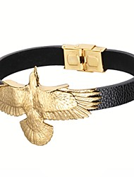 Gold Plated 316L Stainless Steel Flying Eagle Leather Bracelets