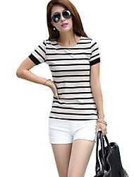 Damen Gestreift Einfach / Street Schick Ausgehen T-shirt,Rundhalsausschnitt Kurzarm Schwarz / Grau Baumwolle Dünn