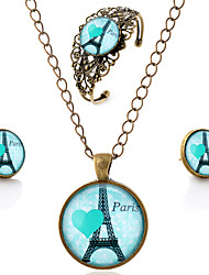 Lureme® Time Gem Series Vintage Eiffel Tower with Heart Pendant Necklace Stud Earrings Hollow Flower Bangle Jewelry Sets